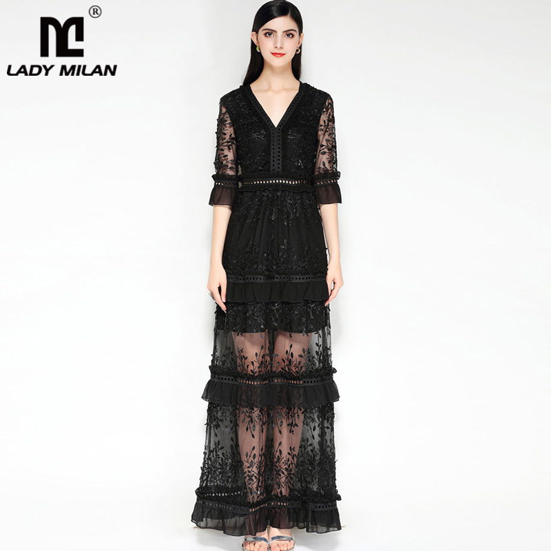 New Arrival 2018 Womens Sexy V Neck Half Sleeves Ruffles Embroidery Lace Hollow Out Tiered Elegant Long Party Prom Runway Dress