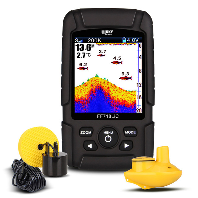 Cheap LUCKY FF718LiCD Portable Fish Finder 90 Degree Rotating Detection Displays Temperature And Topography Fishing Gear