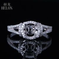 HELON 6mm Round Cut Semi Mount Diamonds Ring Setting Solid 14K White Gold Engagement Wedding Ring