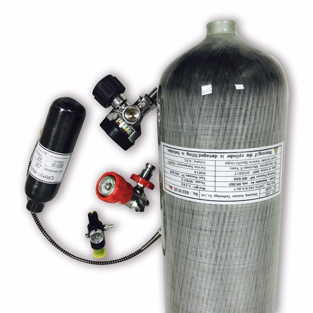 AC10920161035 9L 4500PSI HP Carbon Fiber Cylinder & 0.35L Paintball Tank & Valve & Fill Station & Regulator Diving Balloon 2019