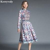 Autumn Long sleeved Print Retro Dress Women Designer Dresses Runway 2019 High Quality Party Dress Lange Jurken K5310