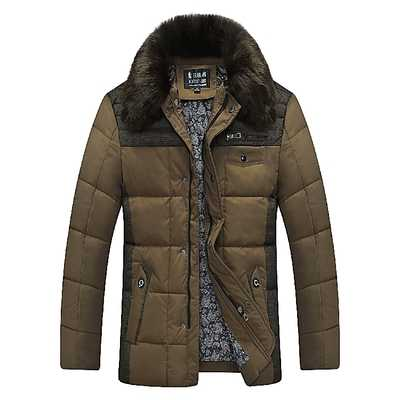 ФОТО Winter Coat Men 2016 New Design Fur Hooded Spliced Thicken Down Parkas Fashion Father Clothing Male Cotton Padded Overcoat A42