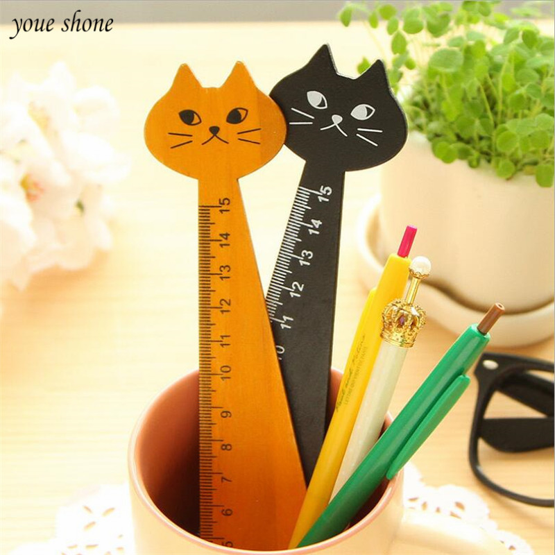 YOUE SHONE 1Pcs/lots Animal Modeling Korean Stationery Ruler Cute Cat Woodworker Stationery