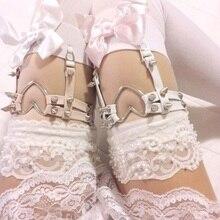 Готические кожаные носки на подтяжках в стиле панк с поясом, сексуальные носки Harajuku с кольцом для ног, эластичные чулки с сердечком, подвязка с заклепкой, ремни, аксессуары