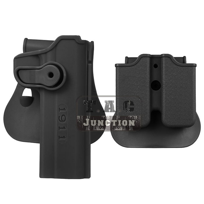 Tactical Retention Rotate Holster Concealed IMI Gun Pistol Holster Right Hand for Colt 1911 w/ Magazine Clip Pouch image