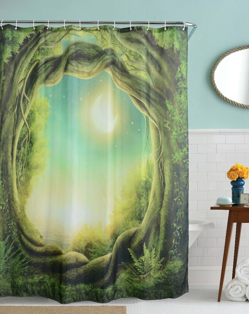 Moon Woods Bathroom Shower Curtains Waterproof Polyester Fabric 3D Jungle Moonlight Home Decorative Bath Cortinas