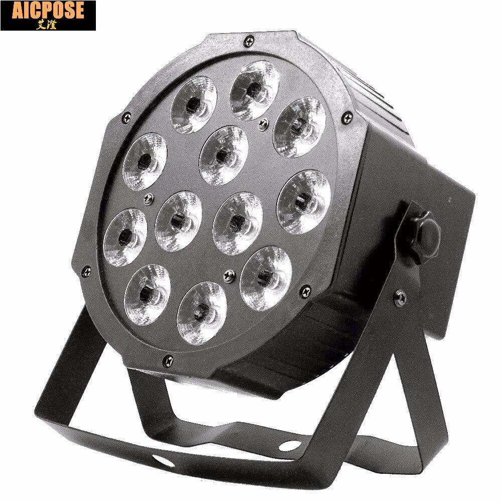 12 PCs 12 W led lámpara cuentas 12 12 W led Par luces RGBW 4in1 plano par led dmx512 luces disco profesional escenario dj equipo