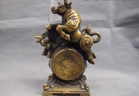 Chinese Copper Bronze Feng shui Lucky Stock market Wealth Two Bull Drum Statue