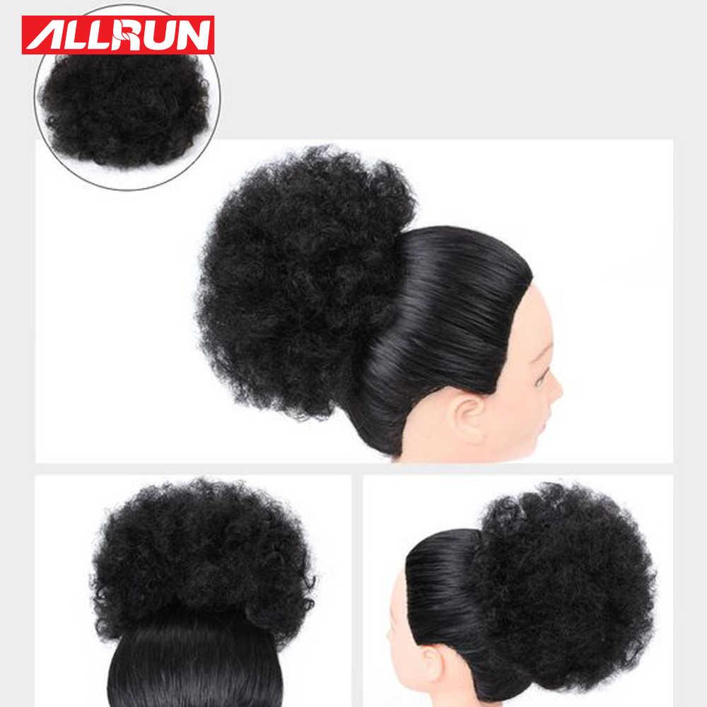Афро кудрявый конский хвост для женщин натуральные черные волосы Remy 1 шт. зажим в хвосты шнурок 100% человеческих волос расширение