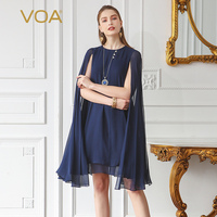 VOA Silk Georgette Plus Size A Line Party Dress Sleeveless Cloak Pearl Clasp Summer Brief Solid Navy Blue Women Midi Dress A367