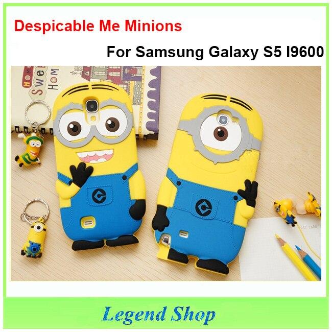 Case Samsung Galaxy S5 I9600 Despicable Minions Cute Cartoon 3D Soft Silicone Back Cover funda capas para - Legend Shop store