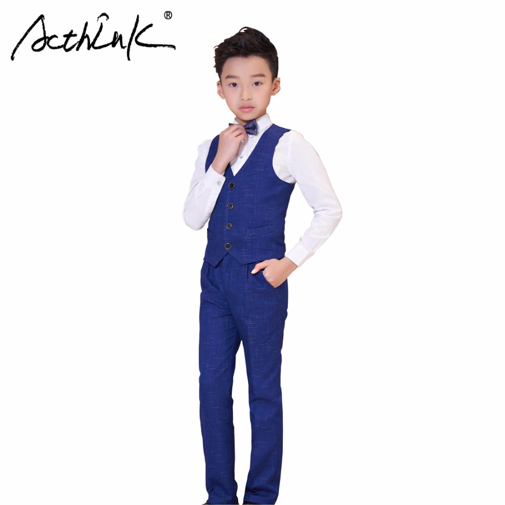 ActhInK New Design 4Pcs Boys Vest Suit Big Boys Graduation Costume Wear Children Formal Wedding Suit Boys Plaid Suits Vest+Shirt acthink new boys summer formal 3pcs shirt shorts waistcoat suit children england style wedding suit with bowtie for boys zc033