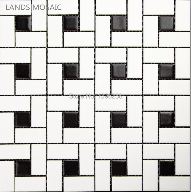 Black and white brick Matt/Glossy available Ceramic mosaic tile,Toliet floor,Kitchen Bathshower backdrop Art wall tiles,LSTCHZ02 sea shell mosaic tiles seamless join natural pure white color kitchen wall mosaics tile hot sale free shipping