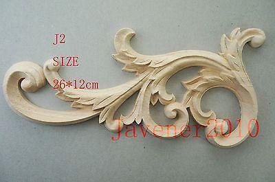J2 -26x12cm Wood Carved Corner Onlay Applique Unpainted Frame Door Decal Working Carpenter Decoration