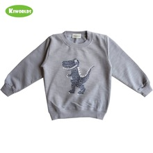 Autumn Hot Sale Gray Cotton Long Sleeve Boys and Girls T-Shirt