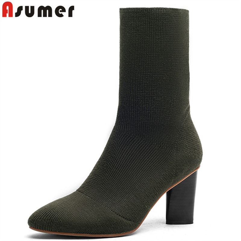ASUMER 2020 fashion shoes woman pointed toe ankle boots women classic knitting boots thick high heels boots ladies prom shoes-in Ankle Boots from Shoes    1