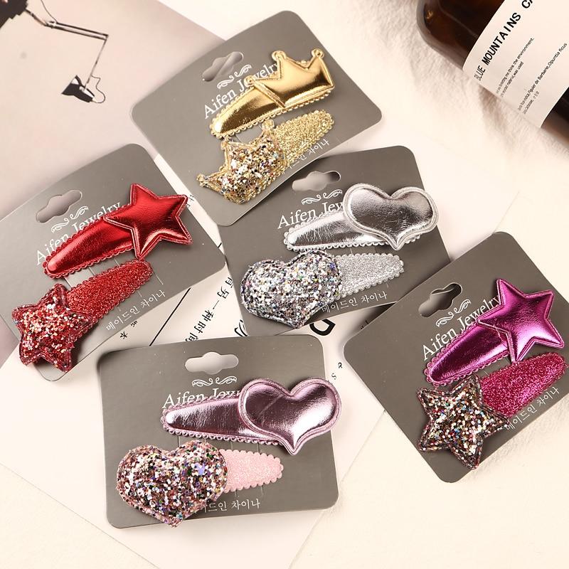 2PCS/Lot Girls Smooth Star Heart Crown Barrettes Cute Hairpins BB Clips For Children Headbands   Headwear   Kids Hair Accessories