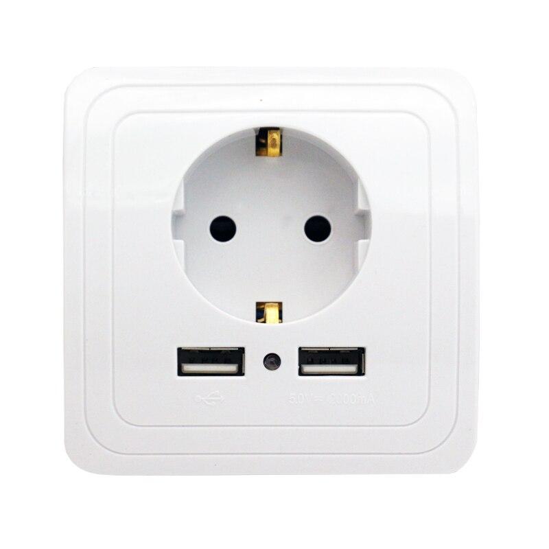 Best Dual USB Port 2000mA Wall Charger Adapter EU Standard Plug Socket Power Outlet Panel