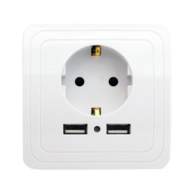 Best Dual USB Port 2000mA Wall Charger Adapter EU Standard Plug Socket Power Outlet Panel