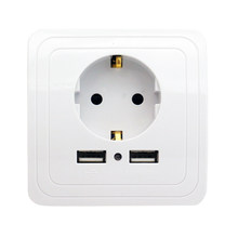 Best Dual USB Port 2000mA Wall Charger Adapter EU Standard Plug Socket Power Outlet Panel(China)