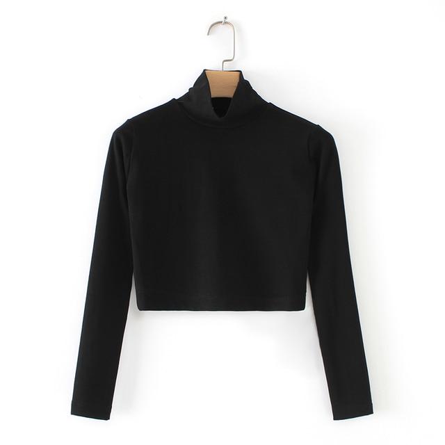 American And European Women Crop Solid Slim Long Sleeve Bottoming Pullover T-shirt Turtleneck Long Sleeve Slim T-shirt