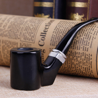 High Quality Black Ebony Pipes Activated Carbon Filter Smoking Pipe Herb Tobacco Pipe Cigar Weed Grinder