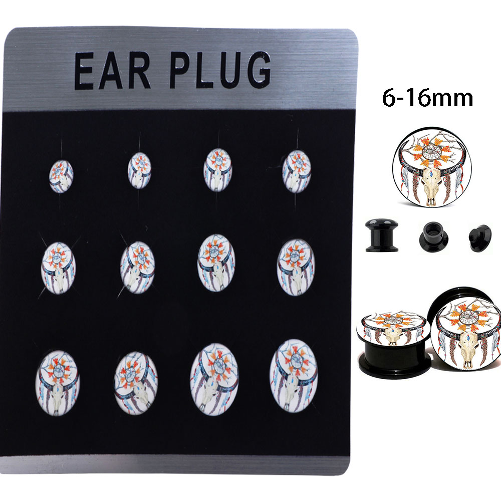 Tiancifbyjs Acrylic Plastic Ear Gauge Stretching Kit Tapers And Plugs Eyelet Body Jewelry Piercing Cartilage Flesh Tunnel 60pcs