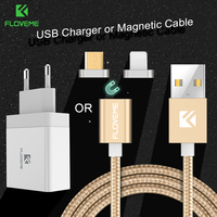FLOVEME 2 Tips Micro USB Magnetic Cable For Samsung Galaxy S7 S6 Edge Xiaomi Huawei Android