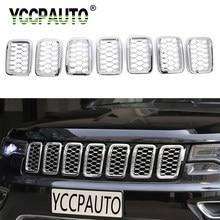 7 YCCPAUTO Peças Acessórios Do Carro ABS Grades Dianteiras Quadro Guarnição Para Jeep Grand Cherokee 2017 + Grils Decoração Tampa Do Carro adesivo