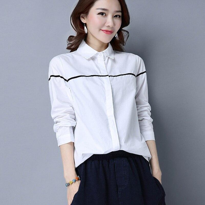 Femmes coton Blouses chemises 2018 printemps automne col rabattu Slim à manches longues hauts bureau dames blanc chemises Blouses RE0373