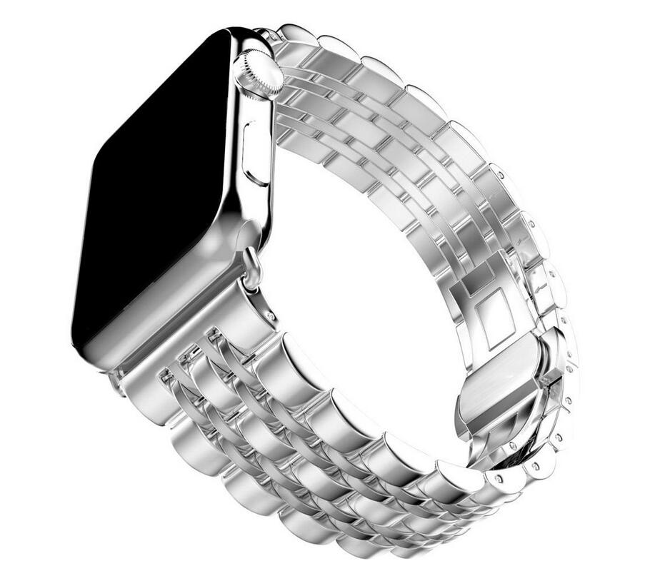 DHL 50pcs/lot Metal Stainless Steel 7 Points Watch Band for Apple Watch Strap Black Silver Rose Gold Butterfly Clasp Bracelet-in Smart Accessories from Consumer Electronics    2