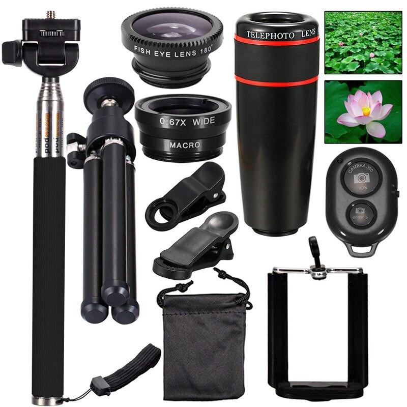 imágenes para Todo en 1 Kit de la Lente Universal Del Teléfono Cámara de 8X Teleobjetivo micro lente de ojo de pescado mini trípode selfie stick kits de control remoto