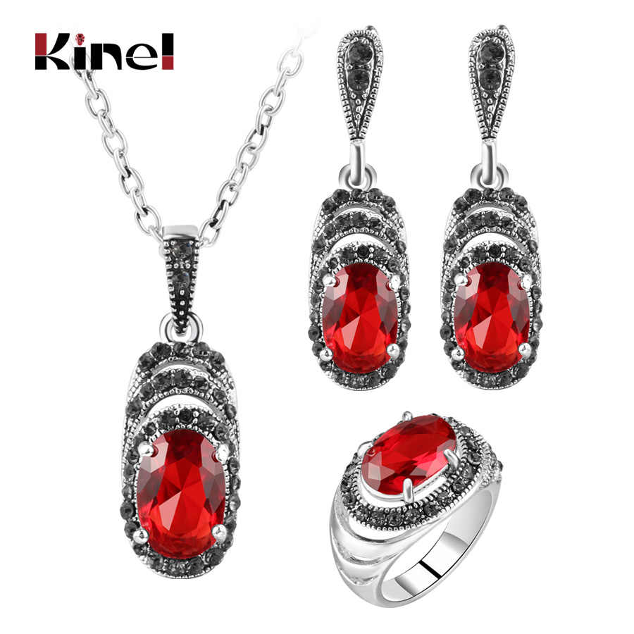 Kinel Women's Fashion Retro Jewelry Sets Antique Silver Color Mosaic Green Zircon Pendant Necklace And Earring Ring Jewelry Set