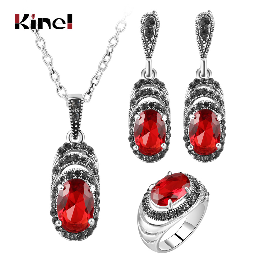 Kinel Women's Fashion Retro Jewelry Sets Antique Silver