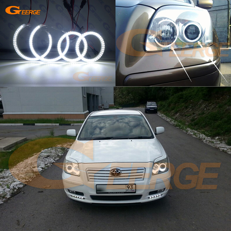 For Toyota Avensis T25 2003 2004 2005 headlight Excellent Ultra bright illumination smd led Angel Eyes Halo Ring kit DRL