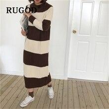 RUGOD Fashion college stripe women knitted dress Warm winter straight loose maxi dresses vestido Korean chic sweater femme