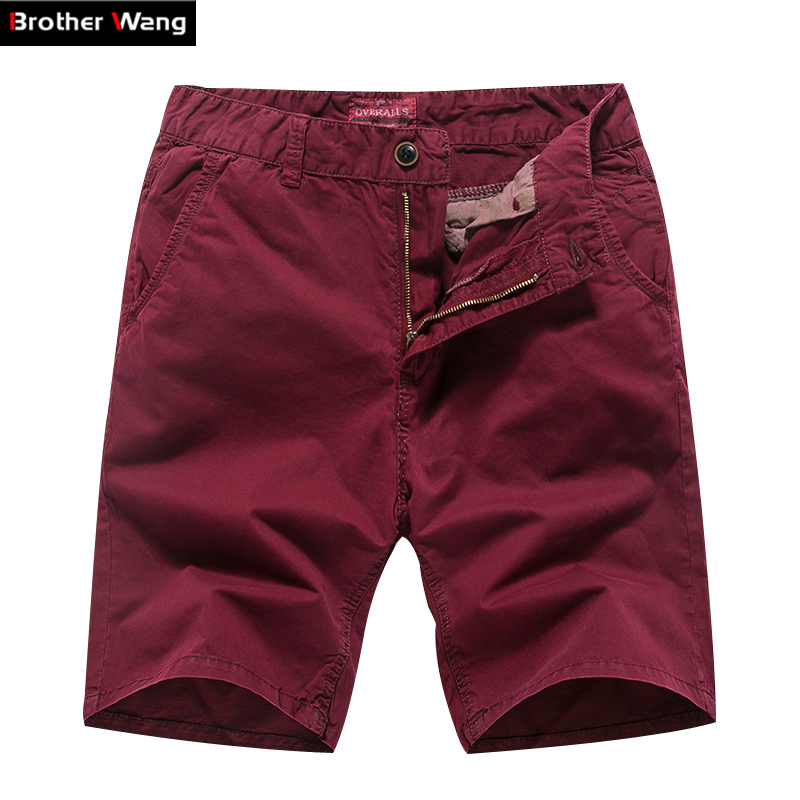 Casual Shorts Brand-Clothing Straight Men's Large-Size Cotton Fashion Male Slim 5-Color