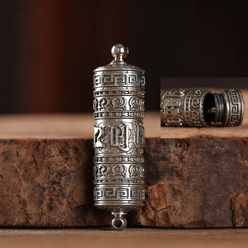 Image 5 - Tibet Buddhism Surangama Mantra Rotatable Pendants Necklace Sanskrit Amulet Necklace Prayer Wheel Men Storage Case Jewelry-in Pendants from Jewelry & Accessories