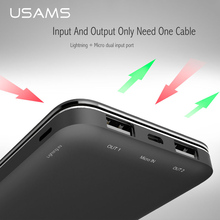 USAMS Power Bank 10000mah External Battery Portable mobile  Dual USB output Input for iPhone & Micro port powerbank charger