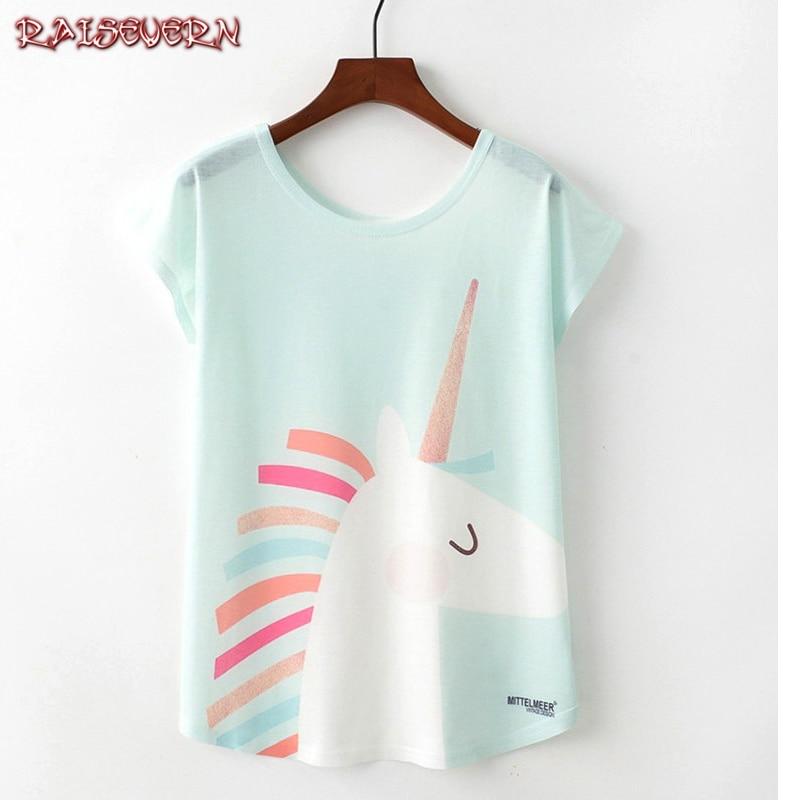 RAISEVERN Blue Hair Colored Unicorn O Neck Short Sleeve Batwing Sleeve Summer T Shirt Cartoon Anime Printing Newest Women Tops