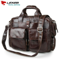 Men's Shoulder Bag With Handle LEXEB Soft Cow Leather Briefcase Men Business Laptop Bags 15.6 High Quality Luxury Design Coffee