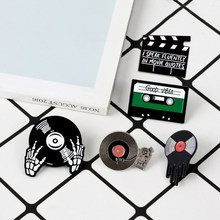 Phonograph Record Cassette Tape Vinyl Record Brooches Collection Enamel Pins Badge Retro Music Disc Brooch Gift for music lovers(China)