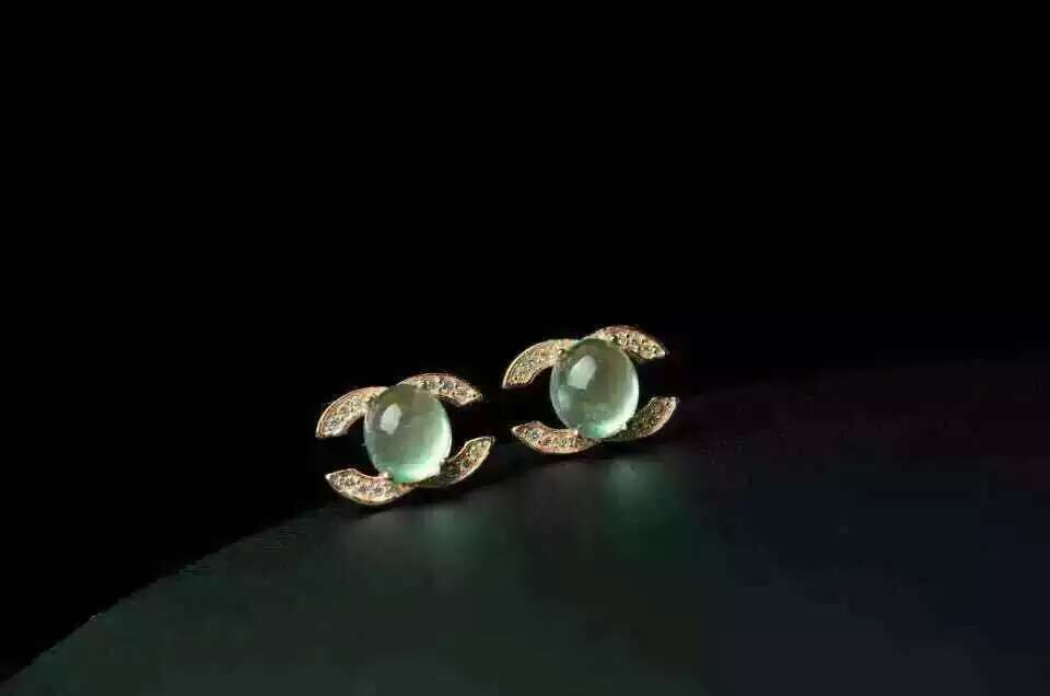 natural prehnite stone stud earrings S925  silver natural gemstone earrings round for girl women's party  Earrings jewelry