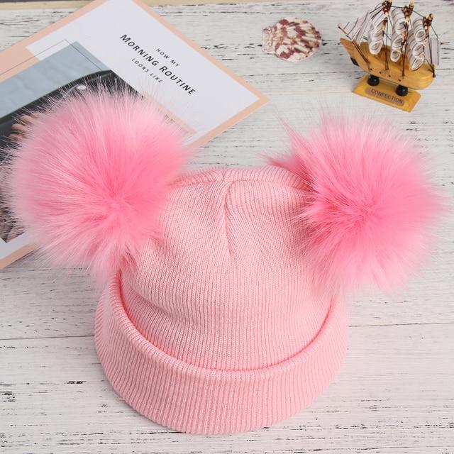 27b5b1f1c23122 1PC Cute Winter 2 Fur Balls Beanie Hat for Women Ladies Fluffy Double  Natural Raccoon Fur