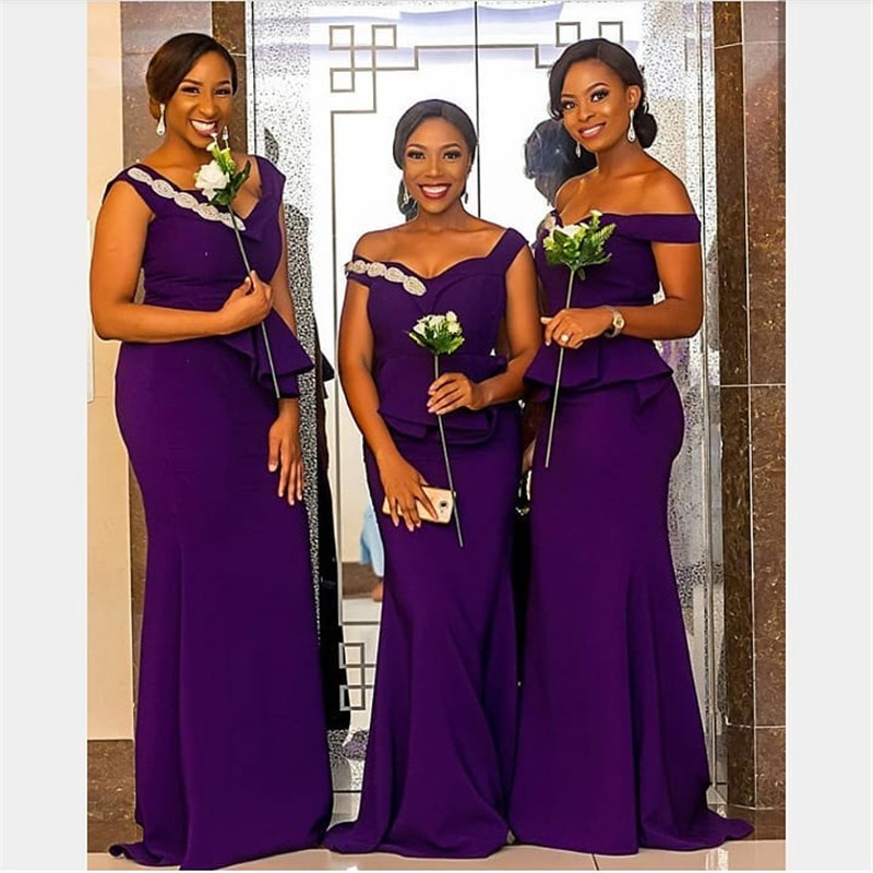 Purple Mermaid Africa   Bridesmaid     Dresses   2019 Sexy V Neck Long   Dress   for Wedding Party for Woman Vestidos de fiesta de noche