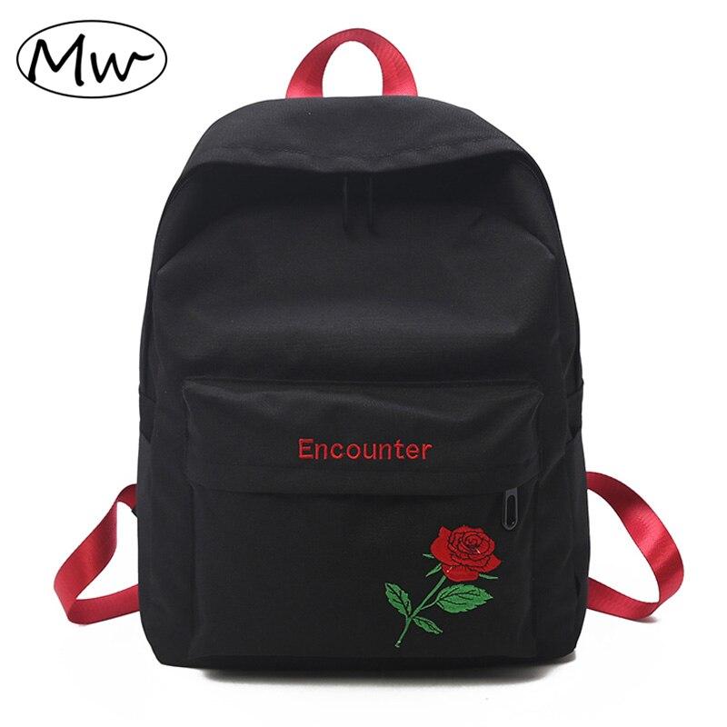 Moon Wood 2018 Designer Embroidery Rose Backpack Women daily Backpack School Bags For Teenage Girls Laptop Bag Travel Backpack moon flac wood