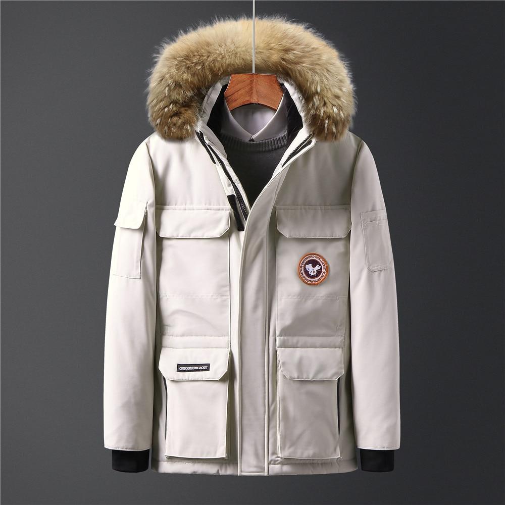 Hight quality winter fashion men's white duck   down   jackets hood with fur waterproof windbreaker warm outerwear   coat   parka