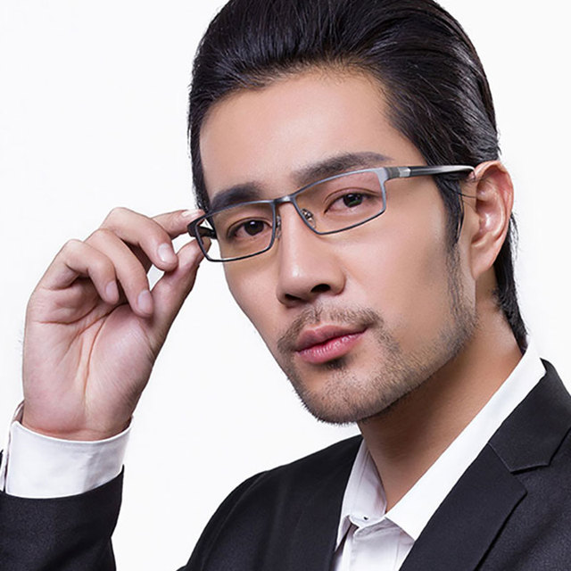 Cool Men Fashion Business Titanium Rim and Flexible TR-90 Temple Legs Optical Eyeglasses Frame for Successful Man