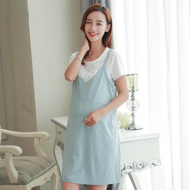 8325a7ccd Embarazadas ropa de maternidad de verano de algodón dress túnica wear  tallas grandes ropa embarazada maternidad