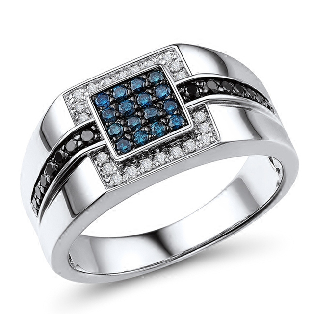 Tri-Colored Diamond 14K White Gold Sapphire Black Ring